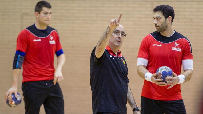 Jordi Ribera durante un entrenamiento de los 'Hispanos' /