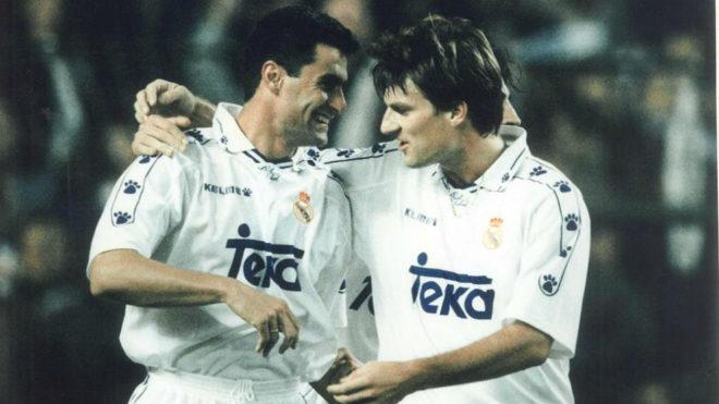Míchel y Laudrup, en su etapa como jugadores del Real Madrid
