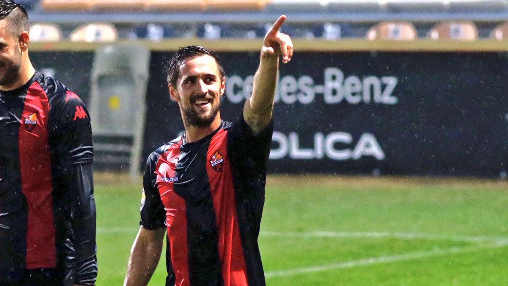 Miramón celebra un gol con el Reus esta temporada