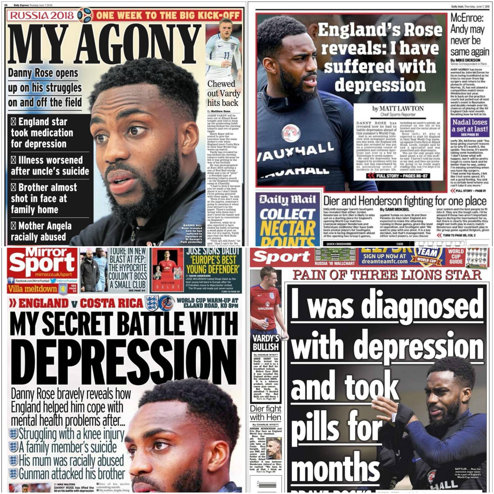 England full-back Danny Rose reveals the story behind battle with depression