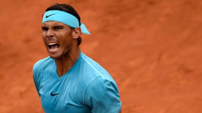 Rafael Nadal grita durante el partido ante Schwartzman el miércoles...