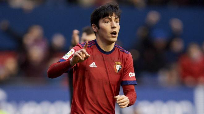 Borja Lasso celebra un gol con Osasuna.