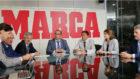 El presidente de ADESP, José Hidalgo, junto a representantes de...