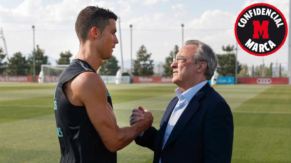 Cristiano y Florentino se saludan en Valdebebas