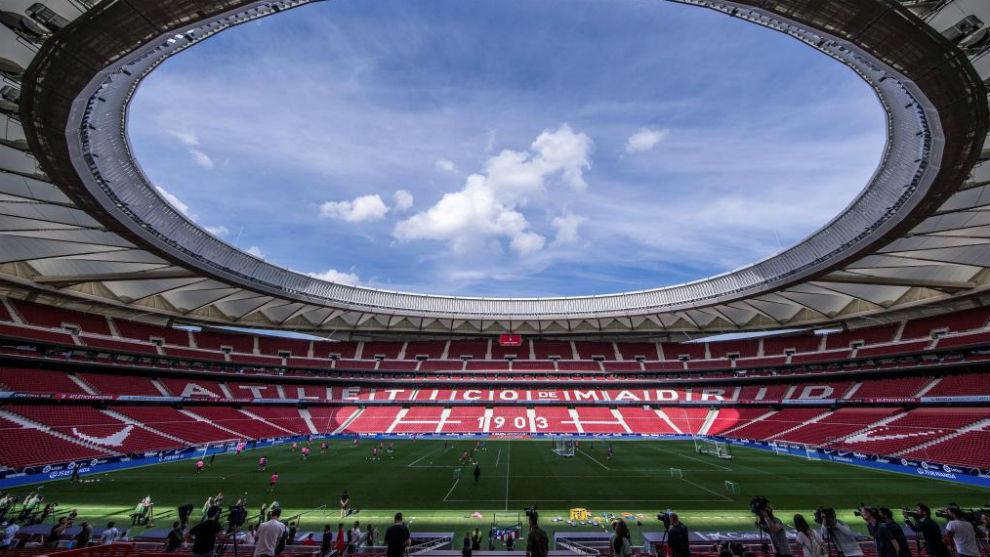 Aspecto del Wanda Metropolitano durante un entrenamiento del...