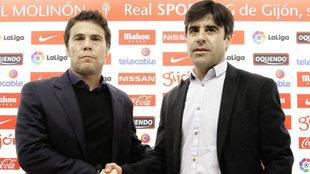 Nico Rodríguez (derecha) en la presentación de Rubí como técnico...