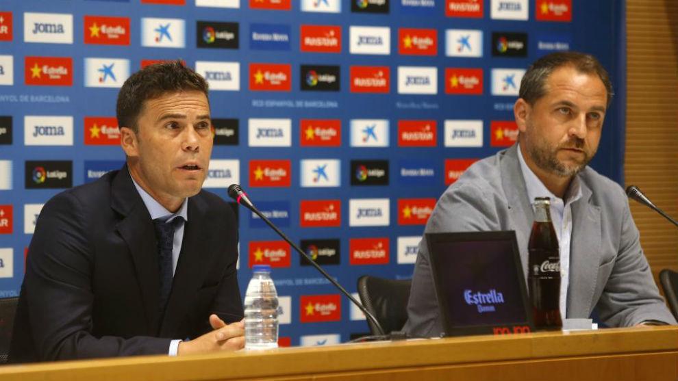 Rubi y Perarnau, durante la presentación del técnico catalán.