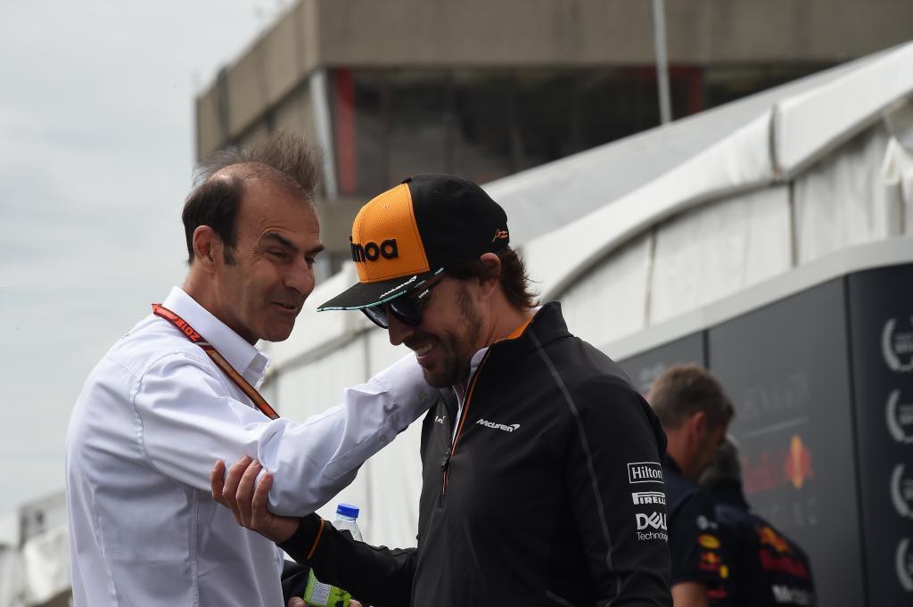 Fernando Alonso (ES) McLaren MCL33 Renault Y Emmanuele Pirro (ITA) Ex piloto de F1 Gran Premio de Canadá 2018. 7ª prueba del mundial. Circuito Gilles Villeneuve, ële Notre-Dame, Canadá. Jueves 07 de Junio, 2018. *** Local Caption *** RUBIO