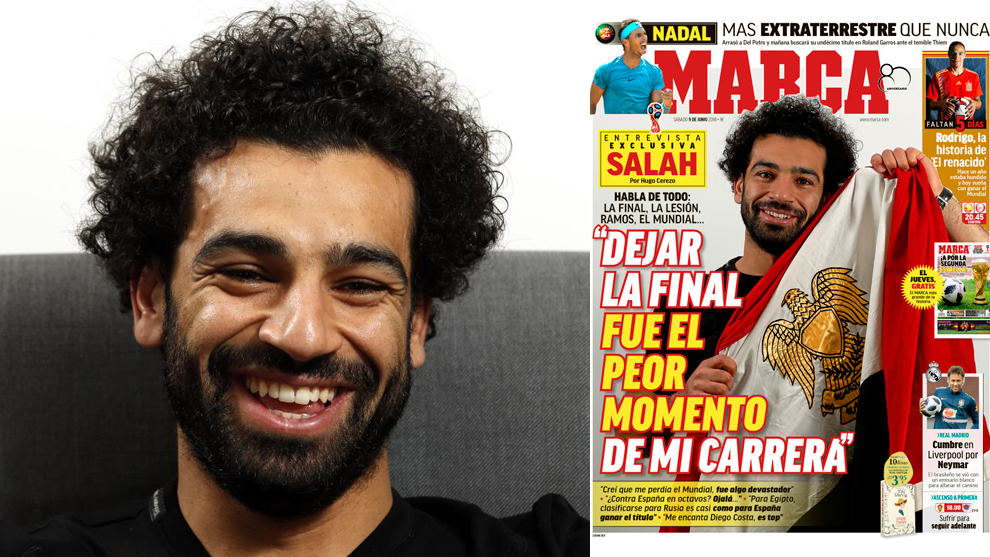 Mohamed Salah and MARCA's cover.