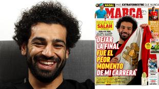 Salah, sonriente con la portada de este sábado a su lado