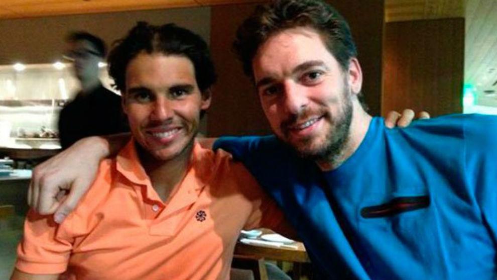 Nadal y Gasol, en el restaurante de Roland Garros