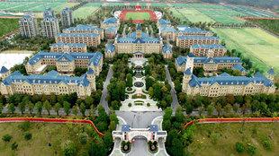 Vista aérea de la Escuela Evergrande de Fútbol situada en el...
