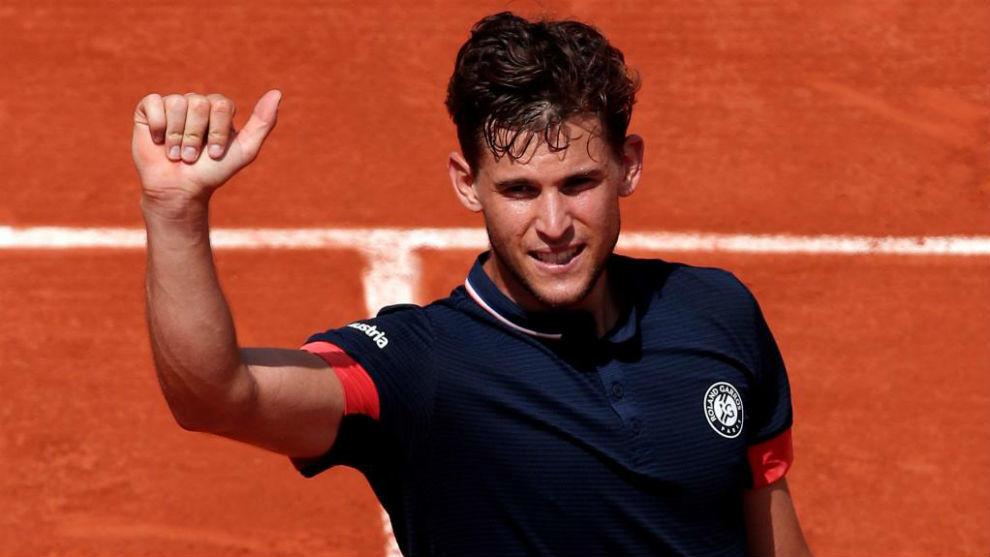 Dominic Thiem celebra la victoria tras derrotar al italiano Marco...