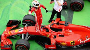 Así celebró Vettel su tercer triunfo de la temporada, que no...