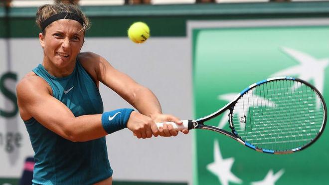 Sara Errani, en un partido de Roland Garros 2018.