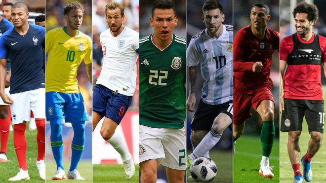 Mbappe, Neymar, Kane, Lozano, Messi, Ronaldo and Salah.