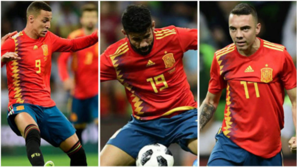 Rodrigo, Diego Costa y Aspas con la camiseta de España.