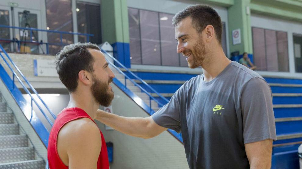 Sergio Rodríguez y Claver, tras un entrenamiento de la selección.