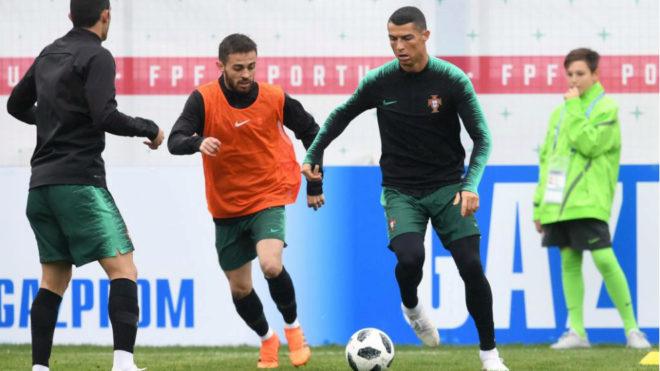 Bernardo Silva and Cristiano Ronaldo during the a training session of...