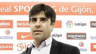 Nico Rodríguez, durante su etapa en el Sporting de Gijón.