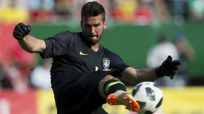Alisson kicks the ball during the international friendly footbal match...