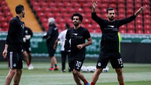 Salah en el entrenamiento de Egipto.