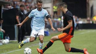 Kevin, en un partido frente al Valencia Mestalla.