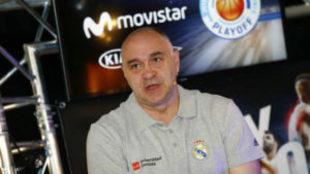Pablo Laso durante el acto de presentación de la final de la Liga...