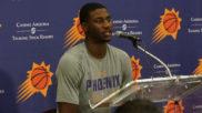 Jaren Jackson Jr. atendiendo a los medios tras entrenar con los...