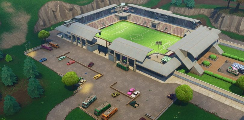 Campo de fútbol grande del Fortnite Battle Royale, que está cerca...