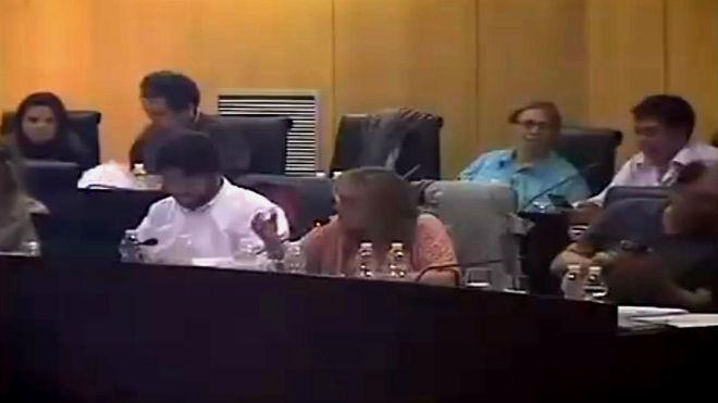 Fragmento del vídeo compartido por Podemos Pinto