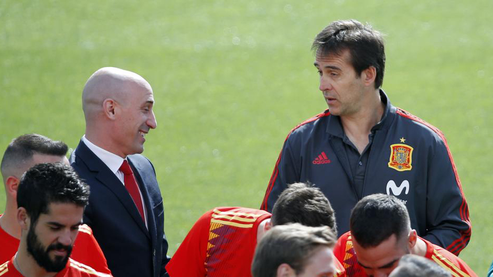 Rubiales and Lopetegui.