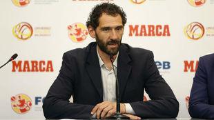 Jorge Garbajosa, durante una comparecencia ante la prensa.