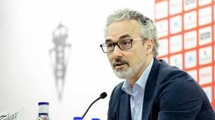 Miguel Torrecilla, durante la rueda de prensa de este jueves
