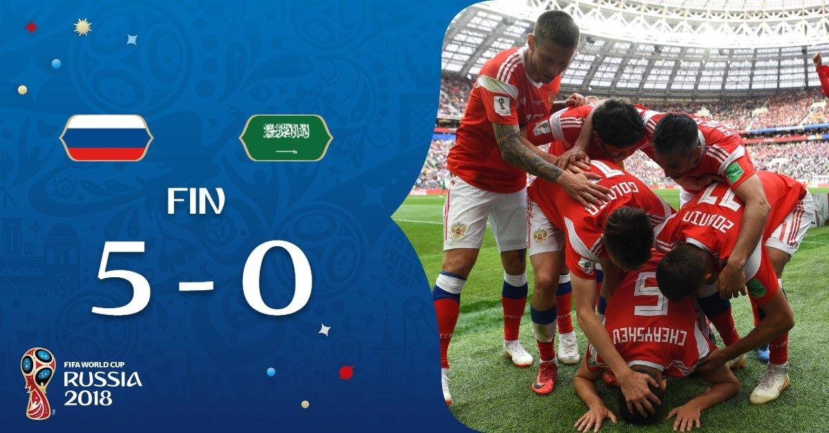 Rusia ha marcado tres o más goles en un mismo partido de la Copa del Mundo  por primera vez desde el 6-1 ante Camerún en 1994. 28d5a59880a86