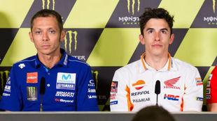 Rossi y Márquez, durante la rueda de prensa de hoy en Montmeló.
