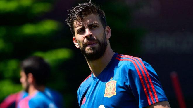 Piqué, en un entrenamiento de la selección española de esta semana.