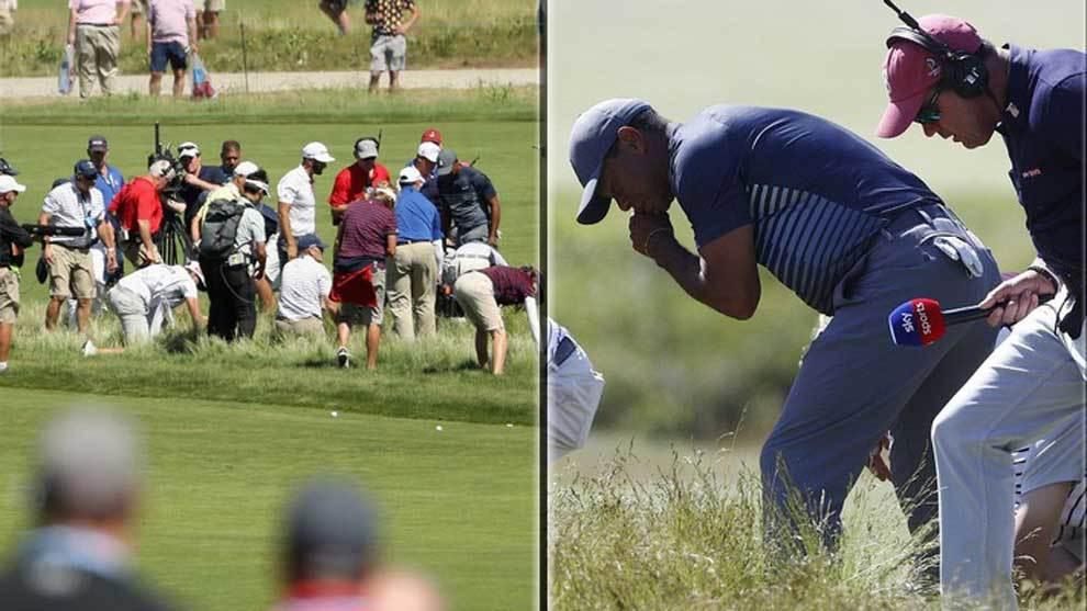 Cerca de 30 personas, incluido el propio Tiger Woods en un ejemplo de...