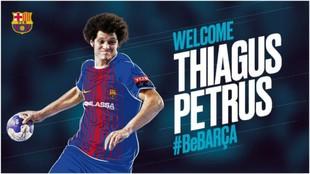 Cartel del fichaje del lateral internacional brasileño Thiagus Petrus