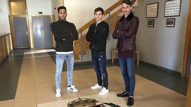 Anuar, Toni Villa y Calero, los tres canteranos del conjunto...