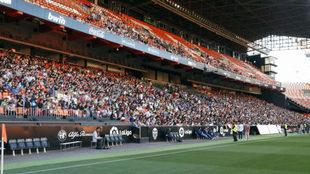 Imagen de la tribuna de Mestalla.