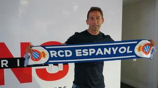 Tamudo, en la presentación de la academia del Espanyol en Miami.