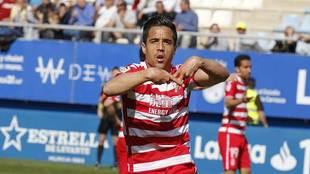 Pedro Sánchez celebra el gol que marcó con el Granada en Lorca