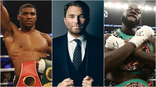 Anthony Joshua, Eddie Hearn y Deontay Wilder.