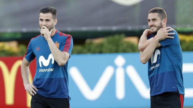 Nacho y Koke en una entrenamiento previo al Portugal vs España