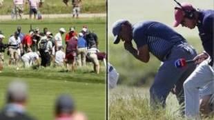 Tiger Woods y cerca de 30 aficionados buscando la pelota perdida por...