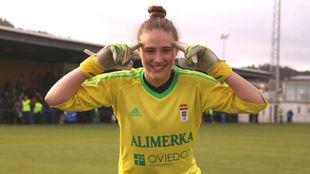 María Echezarreta durante esta temporada en el Real Oviedo.