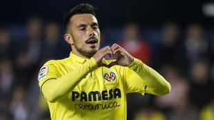 Sansone celebra un gol con el Villarreal