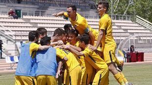 Los jguadores del Atlético celebran un gol