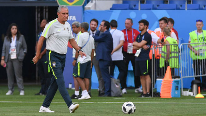Tite attends a training session in Rostov-on-Don